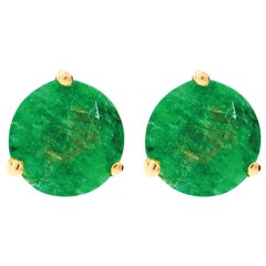 18 Karat Yellow Gold and 1 Carat Lu Emerald Stud by Alessa Jewelry