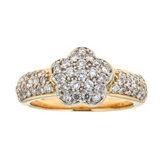 1 TCW Diamond Accent Flower Ring in 18k Yellow Gold Pave Band