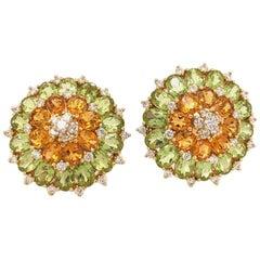 18 Karat Yellow Gold and 13.87 Carat Perodot and Citrine Diamond Earring