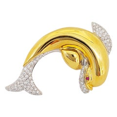 18 Karat Yellow Gold and 1.49 Carat Diamond Dolphin Brooch