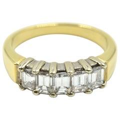 18 Karat Yellow Gold and 1.50 Carat Baguette Diamond Band Ring