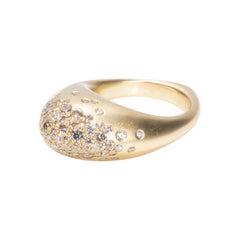 18 Karat Yellow Gold and 1.95 Carat of Champagne Diamonds Fuse Rock Ring