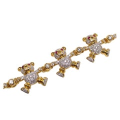18 Karat Yellow Gold and 3.01 Carat Diamond Teddy Bear Bracelet