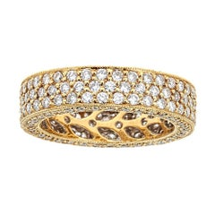 3.2Ct. Diamond Pave Filigree Eternity Band in 18K Solid Yellow Gold Size 6.75