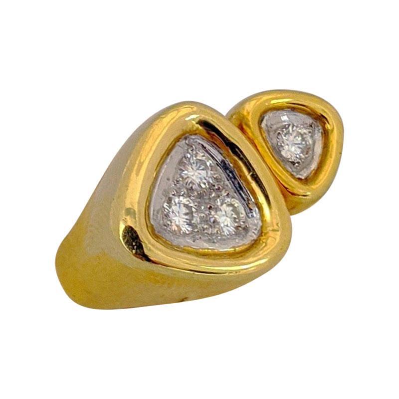 18 Karat Yellow Gold and .40 Carat Diamond, Double Triangle Ring
