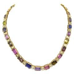 18 Karat Yellow Gold and 56.03 Carat Multi-Color Sapphire Diamond Necklace
