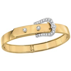 18 Karat Yellow Gold and .66 Carat Diamond Belt Buckle Bangle