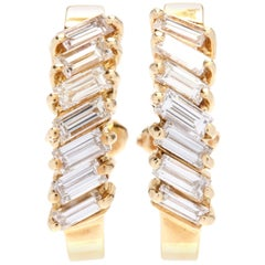 18 Karat Yellow Gold and Baguette Diamond Hoop Earrings