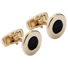 18 Karat Yellow Gold and Black Agate Bar Link Cufflinks Handmade in Italy