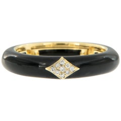 18 Karat Yellow Gold and Black Enamel and Diamond Adjustable Ring Made in Italy