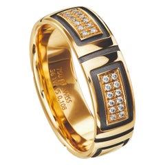 18 Karat Yellow Gold and Black Geometric Diamond Band