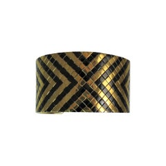 18 Karat Yellow Gold and Black Steel Geometric Design Cuff Bracelet