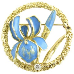 18 Karat Yellow Gold and Blue Enamel Floral Brooch or Pin