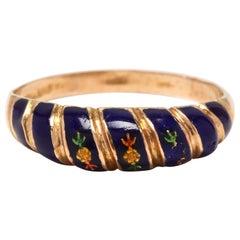 18 Karat Yellow Gold and Blue Enamel Flower Band Ring