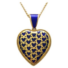 18 Karat Yellow Gold and Blue Enamel Heart Pendant with Hinged Bale