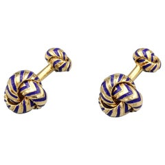 18 Karat Yellow Gold and Blue Enamel Knot Cufflinks
