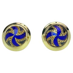18 Karat Yellow Gold and Blue Enamel Round Cufflinks