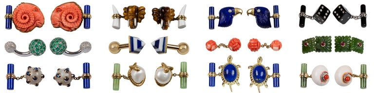 18 Karat Yellow Gold and Blue Enamel Shoes Cufflinks For Sale 4