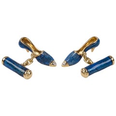 18 Karat Yellow Gold and Blue Enamel Shoes Cufflinks
