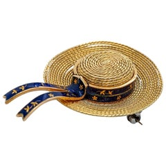 18 Karat Yellow Gold and Blue Enamel Straw Hat Brooch