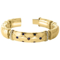 18 Karat Yellow Gold and Blue Sapphire Diamond Bangle / Bracelet, Estate