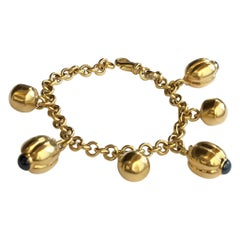 18 Karat Yellow Gold and Cabochon Sapphires Fope Bracelet