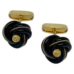 18 Karat Yellow Gold and Carved Black Onyx Love Knot Cufflinks by Steven Fox