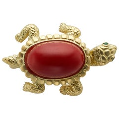 18 Karat Yellow Gold and Coral Turtle Pin