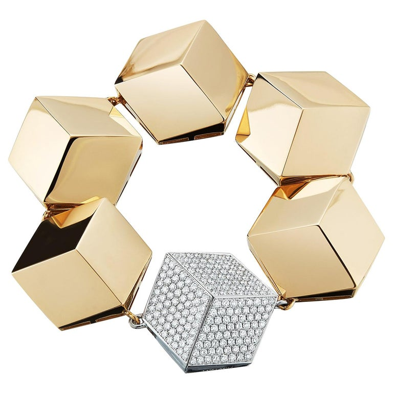 18 Karat Yellow Gold and Diamond 3.04 Carat Brillante Bracelet For Sale