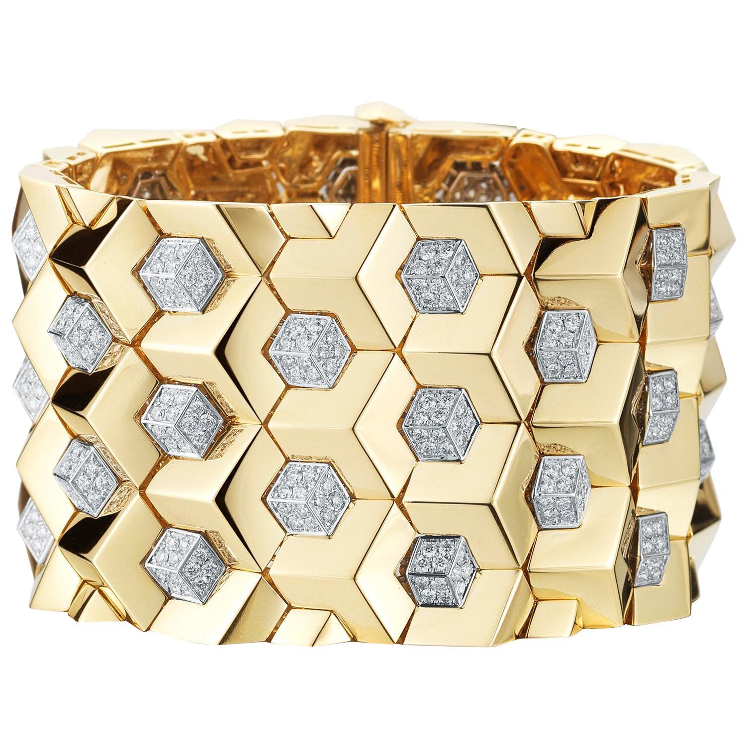 Paolo Costagli 18 Karat Yellow Gold and Diamond 7.75 Carat Brillante Bracelet