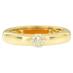 18 Karat Yellow Gold and Diamond Adjustable Ring Made in Italy
