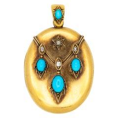 18 Karat Yellow Gold and Diamond and Persian Turquoise Locket