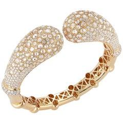 18 Karat Yellow Gold and Diamond Bangle Bracelet