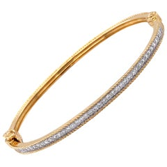 18 Karat Yellow Gold and Diamond Bangle