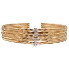 18 Karat Yellow Gold and Diamond Bangle