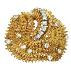 18 Karat Yellow Gold and Diamond Brooch Pin