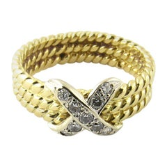 18 Karat Yellow Gold and Diamond Cable X Ring