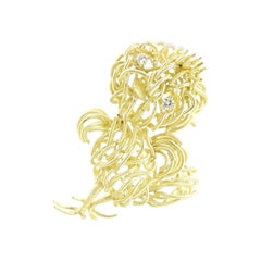 18 Karat Yellow Gold and Diamond Chick Brooch or Pin