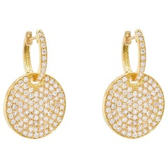 18 Karat Yellow Gold and Diamond Circle Drop Earrings