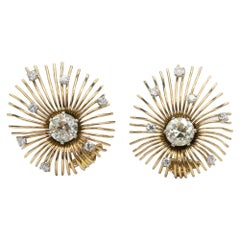 18 Karat Yellow Gold and Diamond Clip-On Earrings