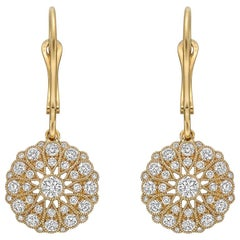 18 Karat Yellow Gold and Diamond Cluster Drop Earrings
