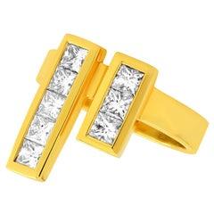 "FARBOD 18 Karat Yellow Gold and Diamond Cocktail Ring ""Princess"""