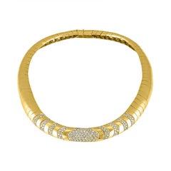 18 Karat Yellow Gold and Diamond Collar Vintage Estate Necklace