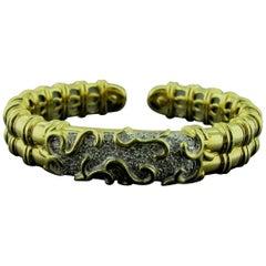 18 Karat Yellow Gold and Diamond Cuff Bracelet
