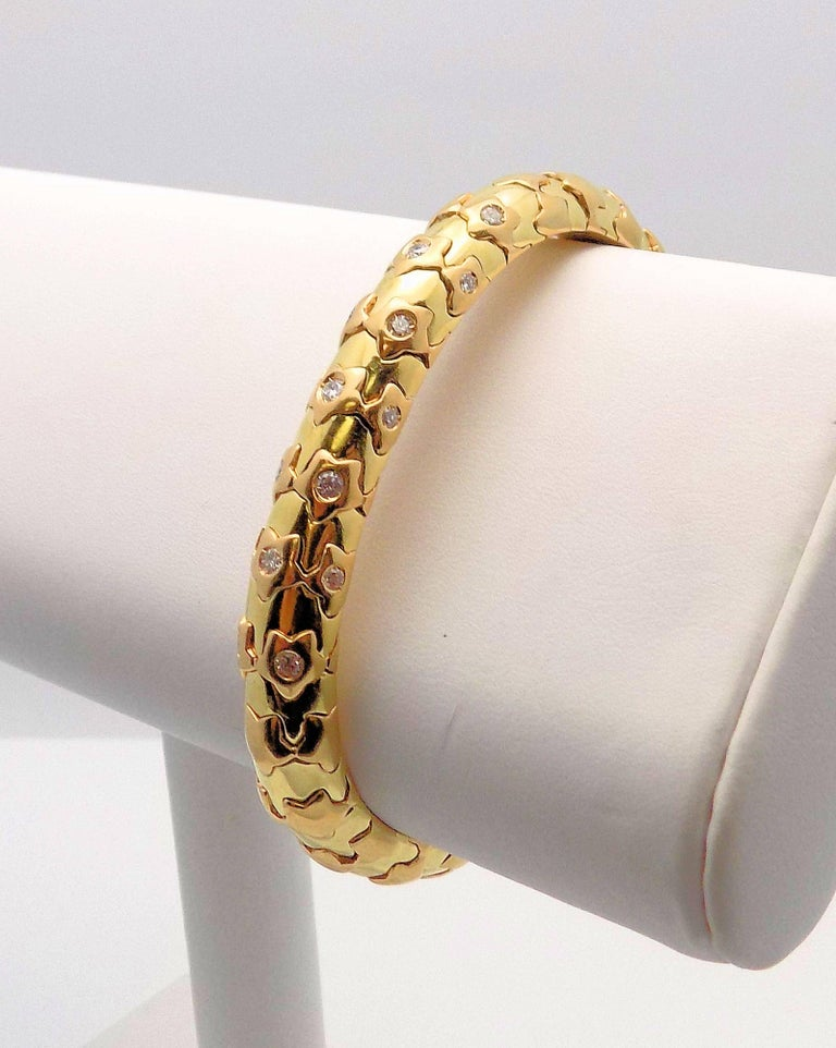 Round Cut 18 Karat Yellow Gold and Diamond Cuff Bracelet, Star Motif For Sale