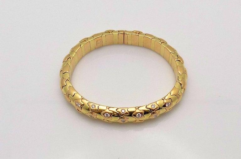 Women's 18 Karat Yellow Gold and Diamond Cuff Bracelet, Star Motif For Sale