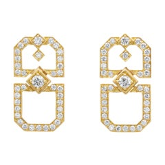 "18 Karat Yellow Gold and Diamond ""Deco Secret Garden"" Earrings"