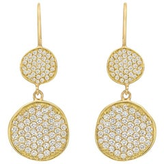 18 Karat Yellow Gold and Diamond Disc Drop Earrings