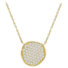 18 Karat Yellow Gold and Diamond Disc Pendant