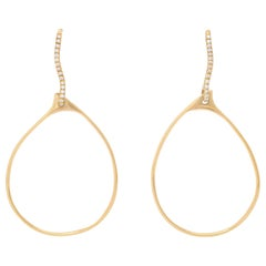18 Karat Yellow Gold and Diamond Earrings